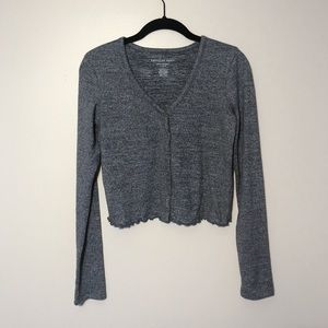 AE Soft Plush Long Sleeve Button Front T-Shirt